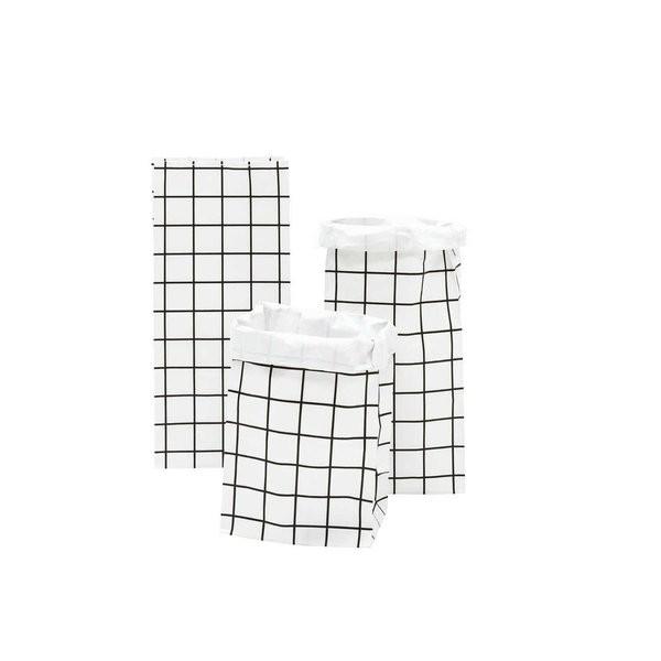 Blockbodenbeutel Karo, S, 3 Stück