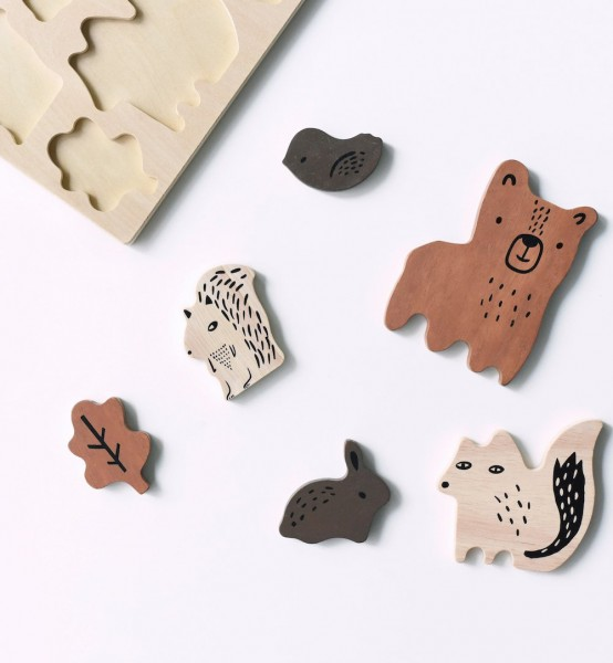 Wee Gallery Steckpuzzle, Woodland Animals