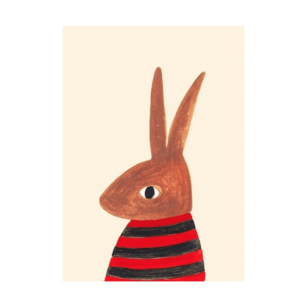 """Rabbit in a striped t shirt"" - A5"