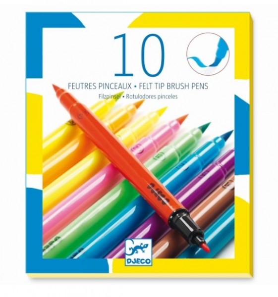 Djeco 10 Pinsel-Filzstifte, Pop Colours