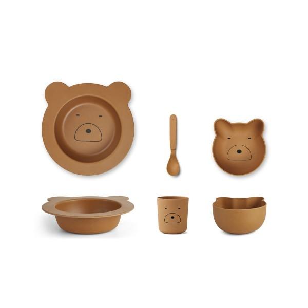 """Liewood Bambus Geschirr-Set """"Barbara"""" mustard,Mr Bear"""