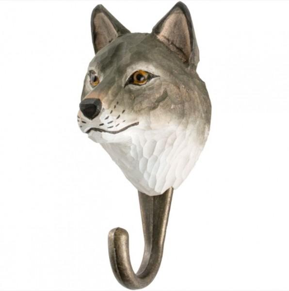 Handgeschnitzter Haken Wolf