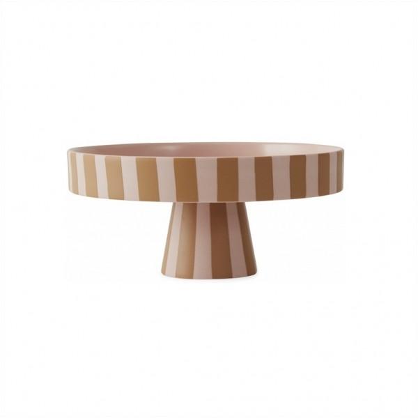 OYOY Living Design,Toppu Tray, Schale mit Fuß, Tortenplatte, Rosa/senf