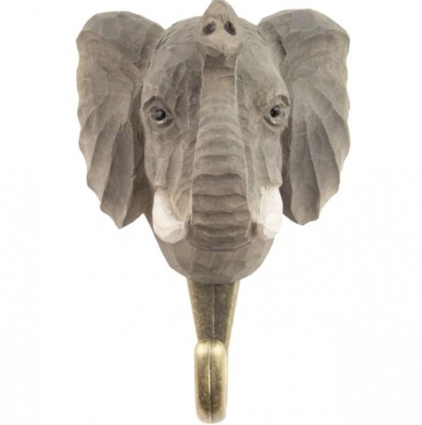 Handgeschnitzter Haken Elefant
