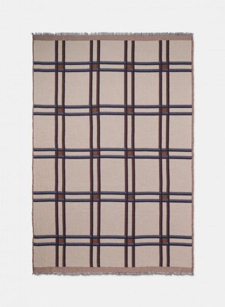 Ferm Living Checked Wool Blanket, Beige