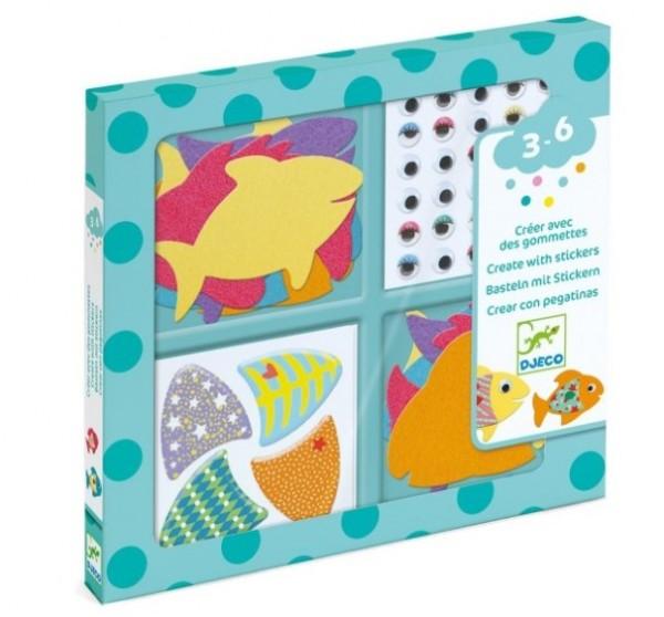 """Djeco BAsteln mit Stickern """"Ich liebe Fische"""""""
