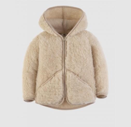 Woll-Jacke mit Kapuze, Beige