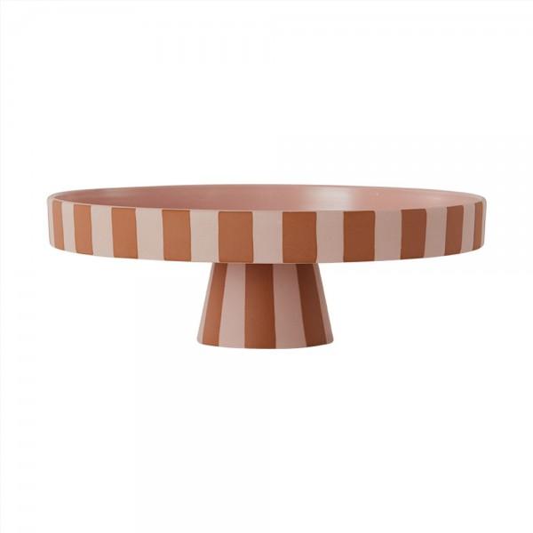 OYOY Living Design Toppu Tray, Schale mit Fuß, Tortenplatte, Rosa/Caramel, Large