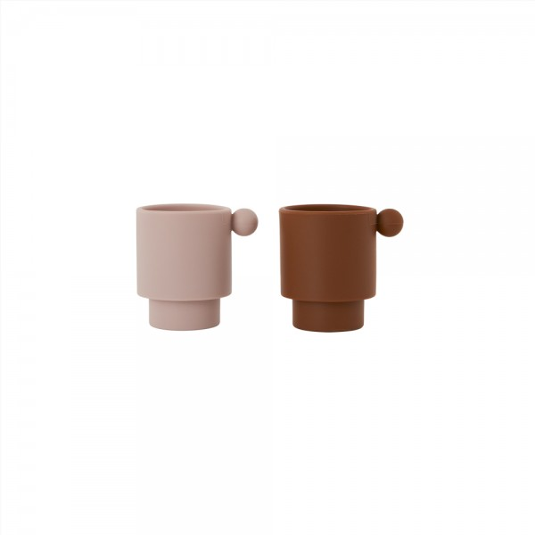 OYOY Tiny Inka Becher Set, Caramel/Rose