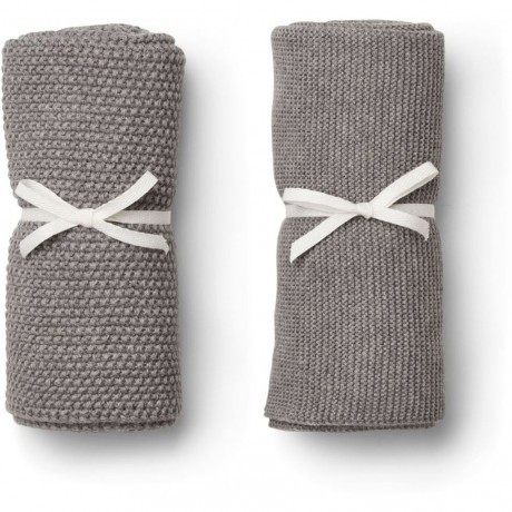 "Liewood 2er-Pack Gästehandtuch ""Tenna knitted towel"", grey"