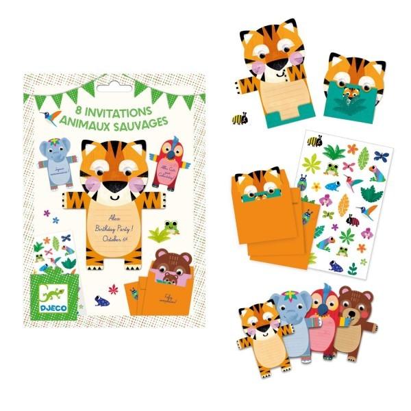 Djeco Einladungskarten Wild Animals