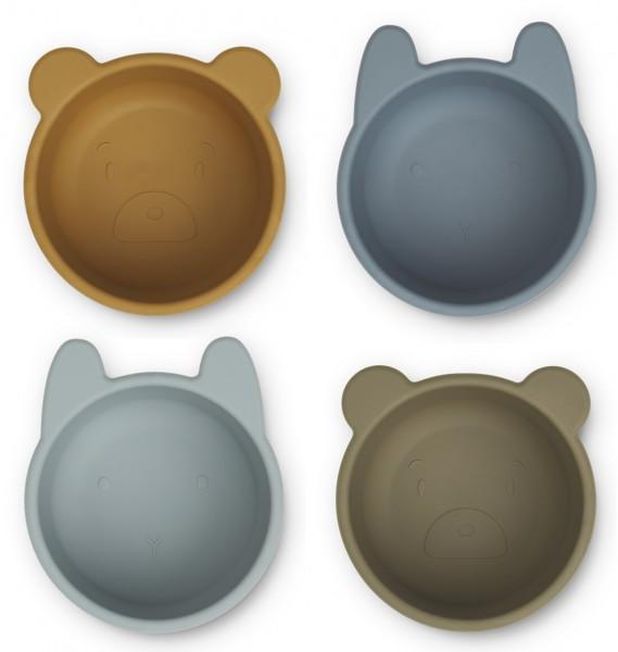"Liewood ""Malene Silicone Bowls"", Schüsselset, Golden Caramel/Blue multi mix"