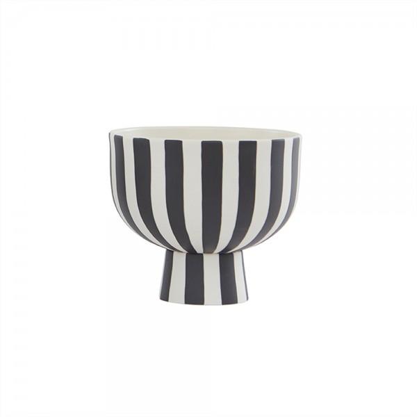 OYOY Living Design Toppu Bowl, Schüssel mit Fuß, Black/White