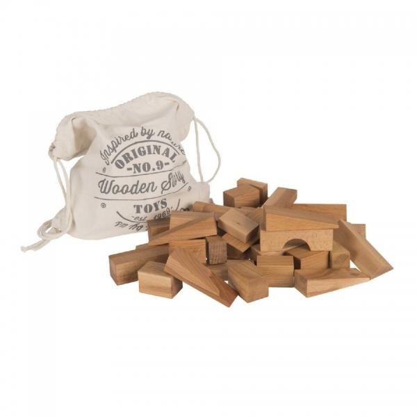 WoodenStory XL Holzbauklötze 50 Teile, natur