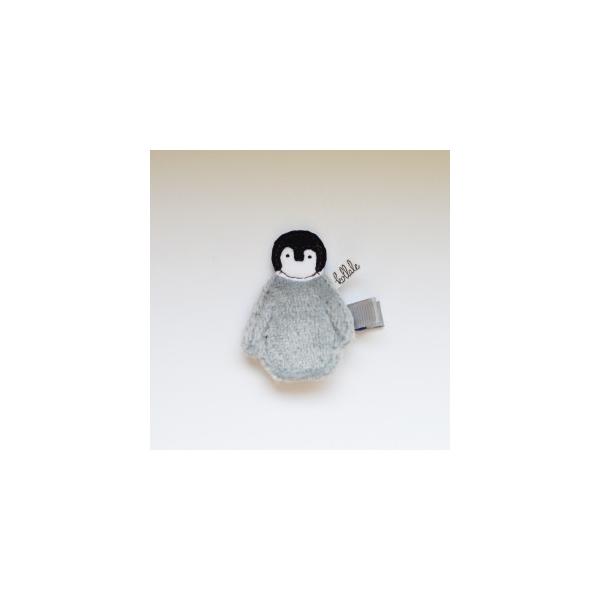 Kollale Haarspange Pinguin Grau
