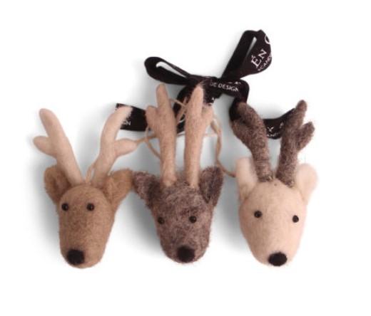 Én Gry & Sif, Filzanhänger, Reindeer 3er Set