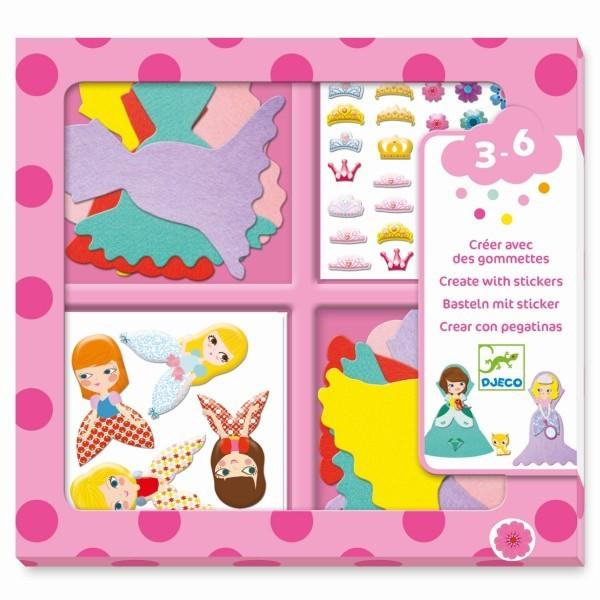 """Djeco BAsteln mit Stickern """"Ich mag Prinzessinen"""""""