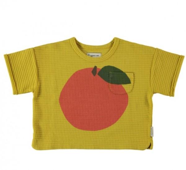 Piupiuchick Honeycomb T-shirt, Mustard, Peach Print